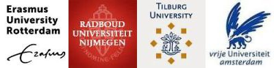 Logos van de vier universiteiten in dit onderzoeksproject
