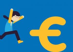 tekening van mannetje dat naar euro-teken springt