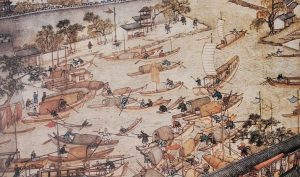 trade in Asia - painting by Xu Yang