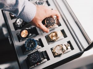 box with luxurious watches