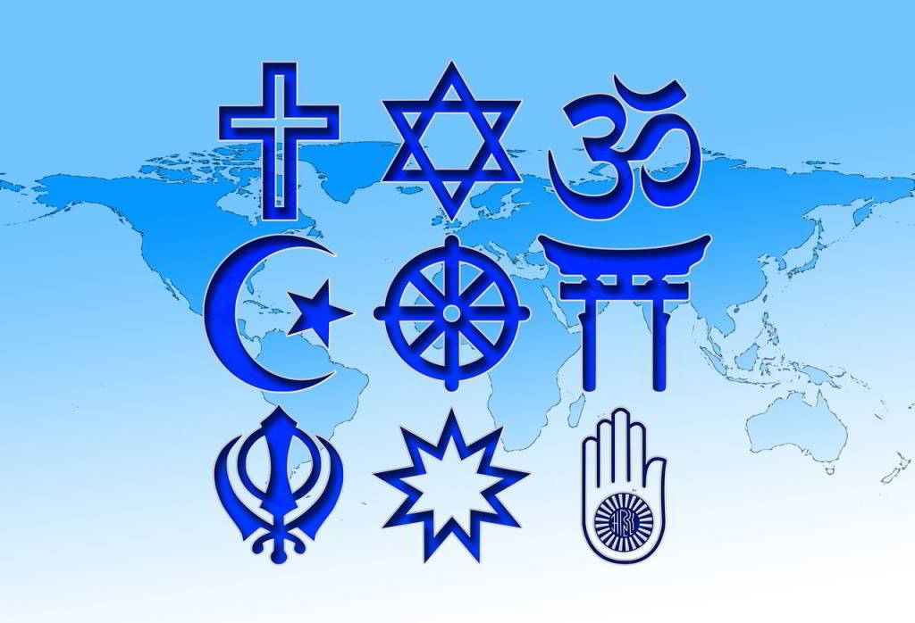 symbols of world religions on a map