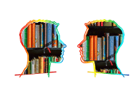 silhouette of two talking heads filled with books