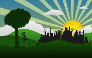 landschap dat duurzame toekomst verbeeldt