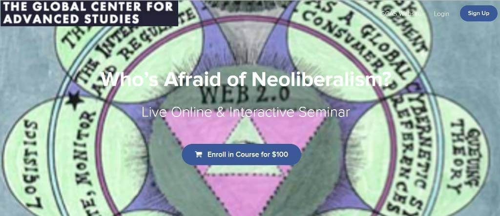 banner for the course who is afraid of neoliberalism